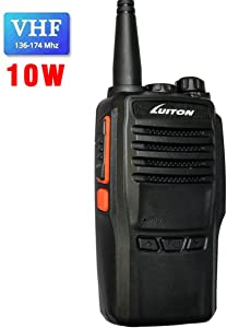 LUITON LT-188H VHF Walkie Talkie 10W for Hiking, Camping with Program Software & Cable - 1 Pack - Black
