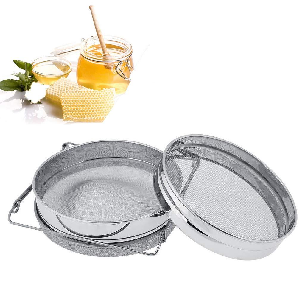 Stainless Steel Honey Strainer/Mesh Filter Double Sieve Beekeeping Equipment Extractor,Fit 5-Gallon Bucket