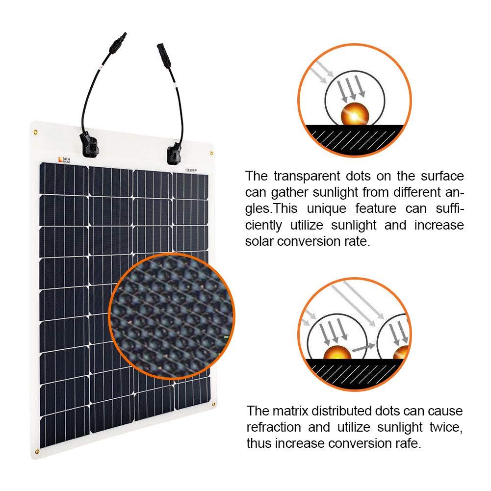 Richsolar 80 Watt 12 Volt Extremely Flexible Monocrystalline Solar Panel Ultra Lightweight 80W Flexible