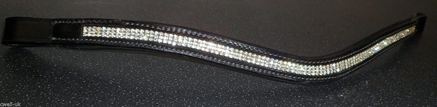 Cwell Equine 3 ROWS U shape ** silver ** CRYSTAL BROWBAND Black F//C//P//XF