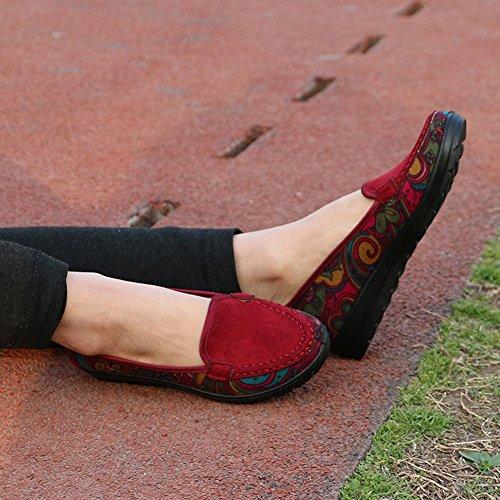 Estilo Zapatos 2018 de caída Primavera la CAI Ocasionales talón Sola Zapatos de del Solos Talones de Verano Mujeres Las Las de Las Rojo Zapatos Mujeres Zapatos Nacional AnP6wgnW