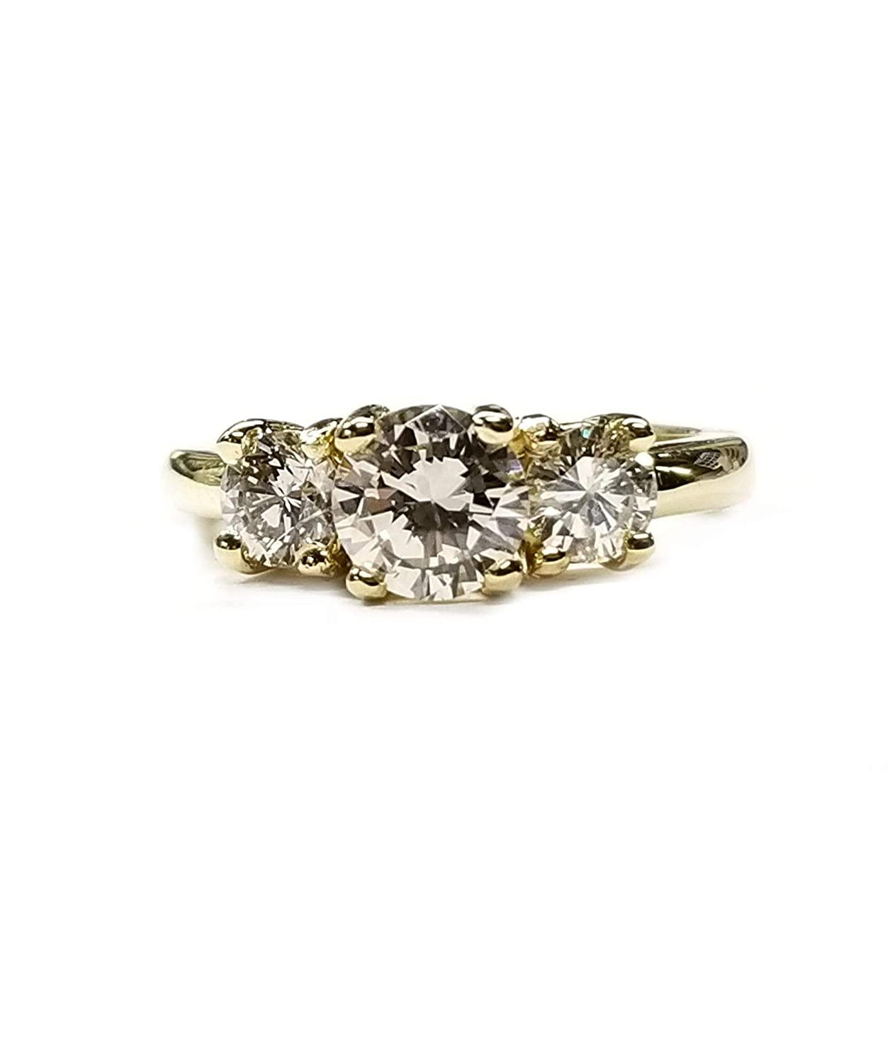 1c8afc8890ab2 Amazon.com  Diamond Engagement Ring 1.79cts. 3 Stone Setting in 18kt Gold   Handmade