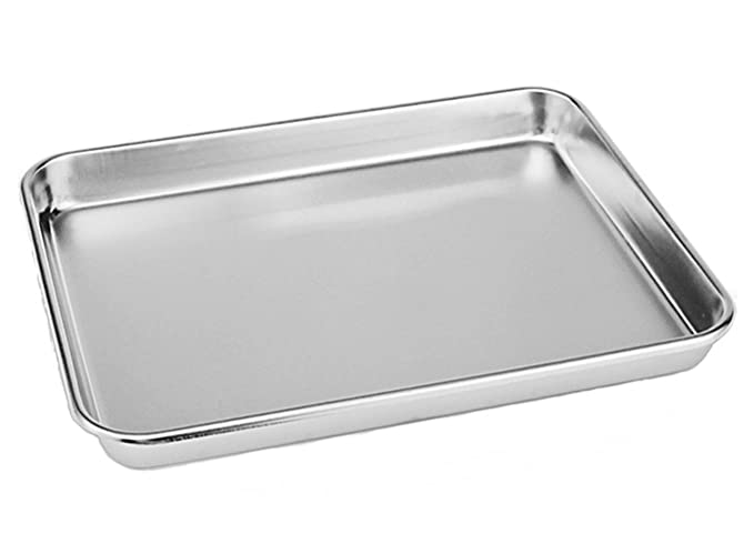 Neeshow Stainless Steel Toaster Oven Pan Tray Ovenware Professional, Heavy Duty & Healthy, Deep Edge, Superior Mirror Finish, Dishwasher Safe,Set of 2