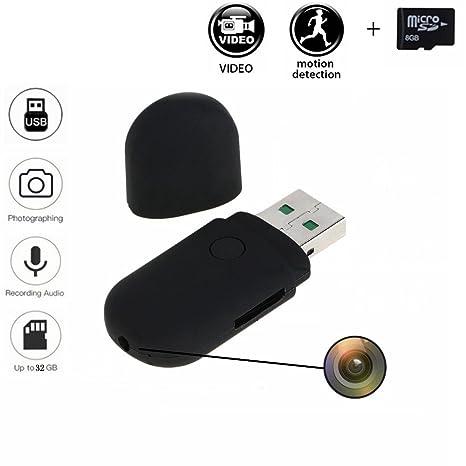 codomoxo® Mini llave USB espía cámara de vídeo grabación detector de movimiento con 8 GB