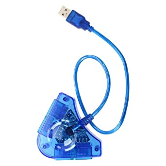 BLUE PS2 CONTROLLER to PC USB ADAPTER CONVERTER FOR Sony