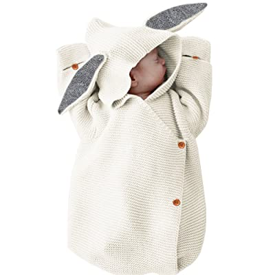 MiMiXiong Newborn Baby Knit Sleeping Bags Bunny Easter Gift Toddler Wearable Swaddle (Ivory-Bunny) : Baby