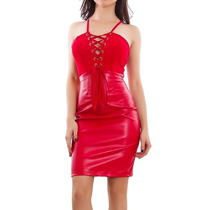 0dd68f314460 Toocool - Vestito Donna Ecopelle Effetto Pelle Stringato Aderente Abito  Elegante GI-3186  Taglia Unica