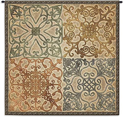 (Wrought Iron Elegance | Woven Tapestry Wall Art Hanging | Geometric Ironwork Motif | 100% Cotton USA Size 44x44)