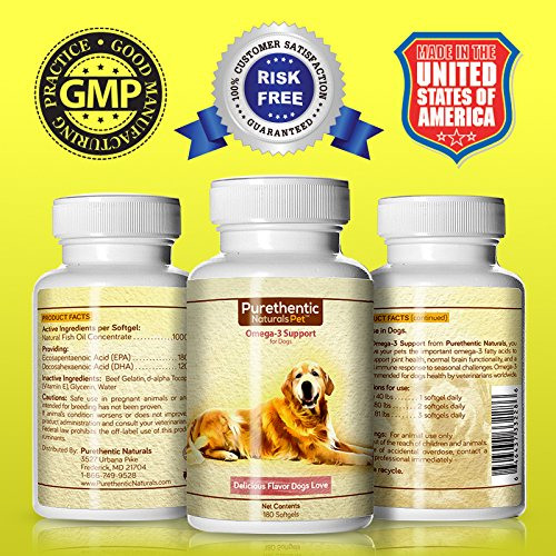 Omega 3 for dogs fish oil for dogs 180 softgels featuring for Fish oil for dogs dosage