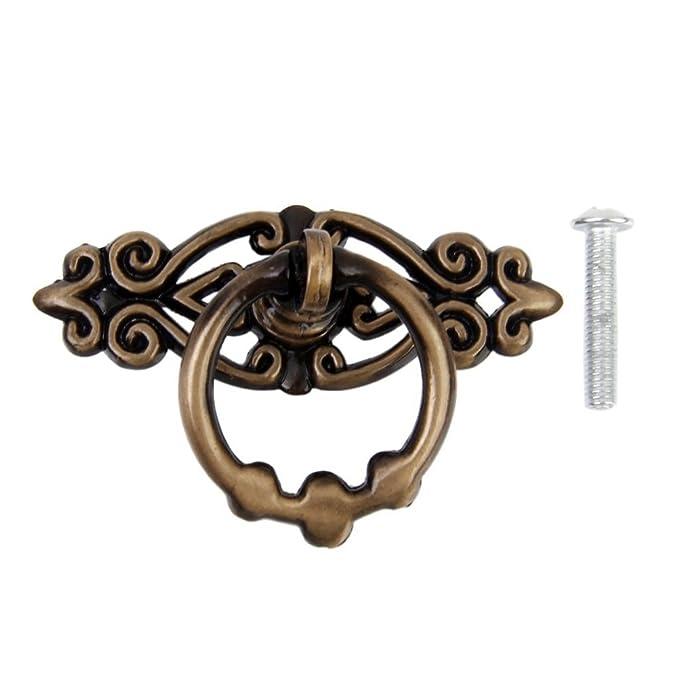 Set Of 2 Antique Drop Pendants Handles Round Bronze Furniture Door Drawer Elegant And Sturdy Package Antiques