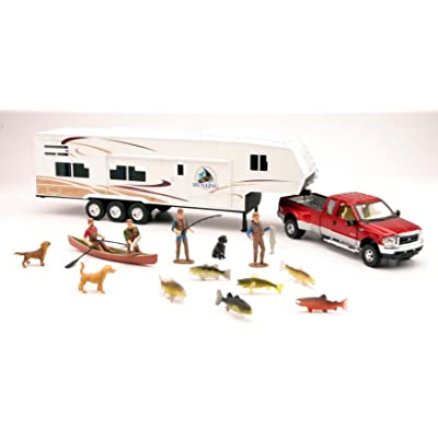 New Ray Fishing Camper Playset by 1-32 Scale.: Toys & Games
