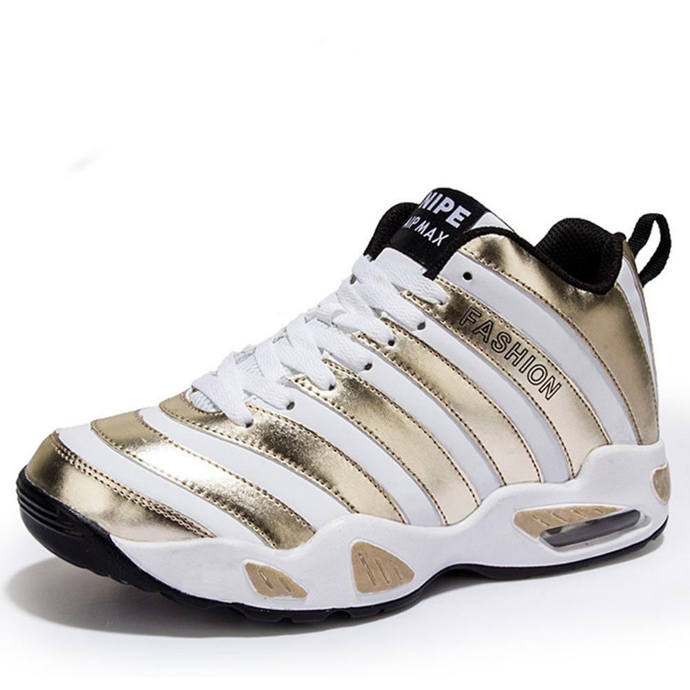 Suetar Zapatillas de Baloncesto con Diseño de Cebra para Hombre/Mujer Zapatillas Deportivas Mid-Top de Moda All Season Air Cushion Sneakers 44 EU / 270mm|Gold