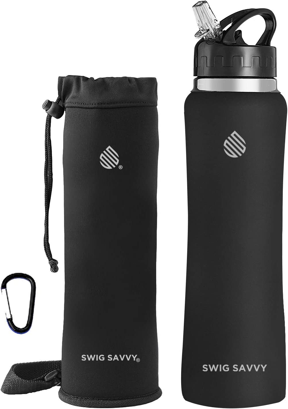 Swig Savvy Stainless Steel Insulated Leak Proof Flip Top Straw Cap Water Bottles with Pouch & Clip, Black, 25oz
