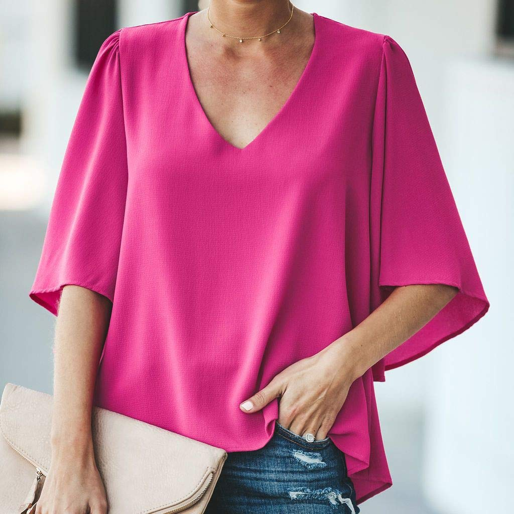 Pervobs Women Ladies Loose Swing Tunic Casual Half Sleeve V-Neck Soild T-Shirt Tee Blouse Tops(US: 6, Hot Pink) by Pervobs T-Shirt (Image #2)