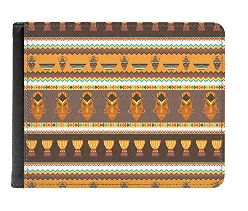 fold Leather Men's Genuine African Masks Bi Wallet Masks Genuine African Leather Men's gaw7qU1