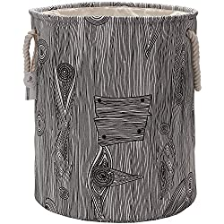 "Sea Team 19.7"" Large Size Stylish Tree Stump Wood Grain Canvas & Linen Fabric Laundry Hamper Storage Basket with Rope Handles, Walnut"