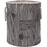 Sea Team 19.7'' Large Size Stylish Tree Stump Wood Grain Canvas & Linen Fabric Laundry Hamper Storage Basket with Rope Handles, Walnut