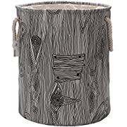 Sea Team 19.7  Large Size Stylish Tree Stump Wood Grain Canvas & Linen Fabric Laundry Hamper Storage Basket with Rope Handles, Birch