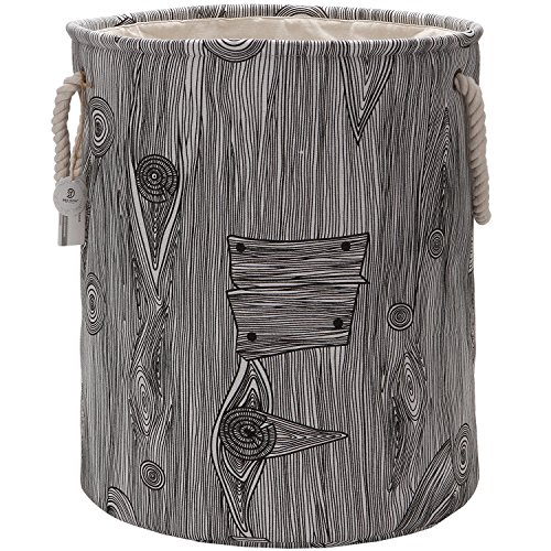 Sea Team 19.7'' Large Size Stylish Tree Stump Wood Grain Canvas & Linen Fabric Laundry Hamper Storage Basket with Rope Handles, Walnut by Sea Team