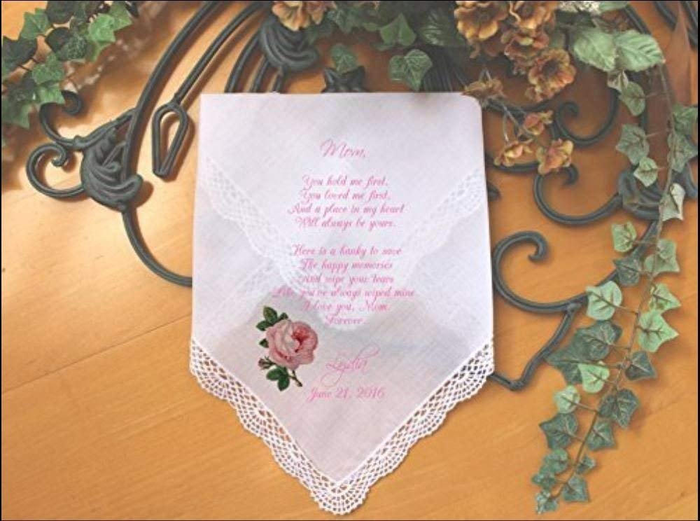 Mother of the Bride Handkerchief-Wedding Hankerchief-PRINTED-CUSTOMIZED-Wedding Gift-Mother of the Groom hankies-LS5FCAC by Snugahug