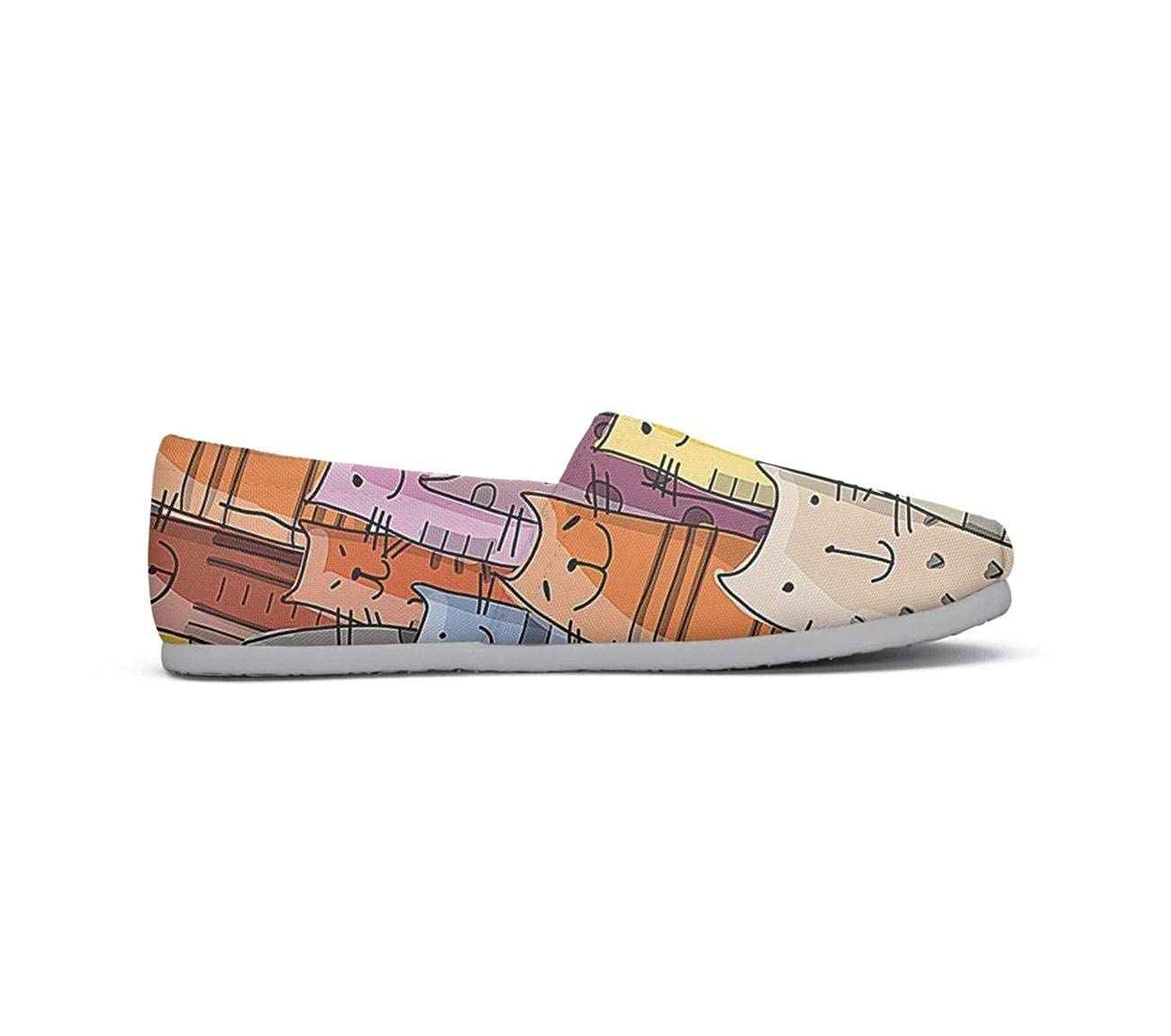 nkfbx Funny Animals Kitten Casual Flat Trainers for Girls Travel