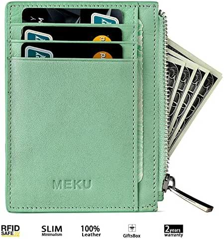 Front Pocket Wallet - RFID Slim Wallet with Money Clip Pocket Zipper 8 Credit Card Case Holders Leather RFID Blocking