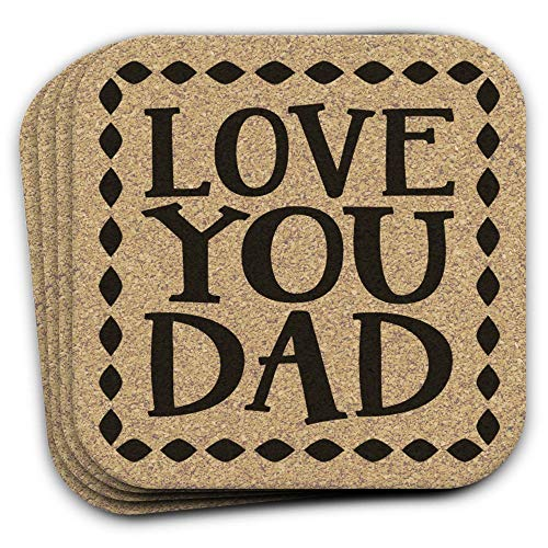 Father's Day Gift LOVE YOU DAD Cork Drink Coaster Set of ()