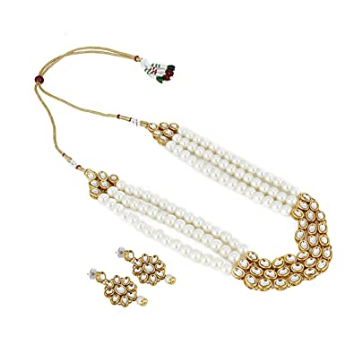 c5aff1193 Designer Bollywood Inspired Pearl Kundan Jewellery Set/Necklace Choker  Chain Jewelry Set with Earring Stud