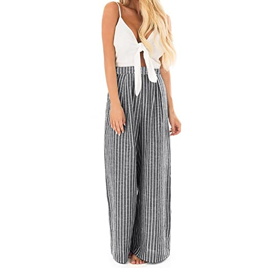 6e99a80dbe5551 Birdfly Summer Sleeveless Solid White Chest Bowknot Tie Tops with Striped  Wide Legs Jumpsuit Romper Outsuit