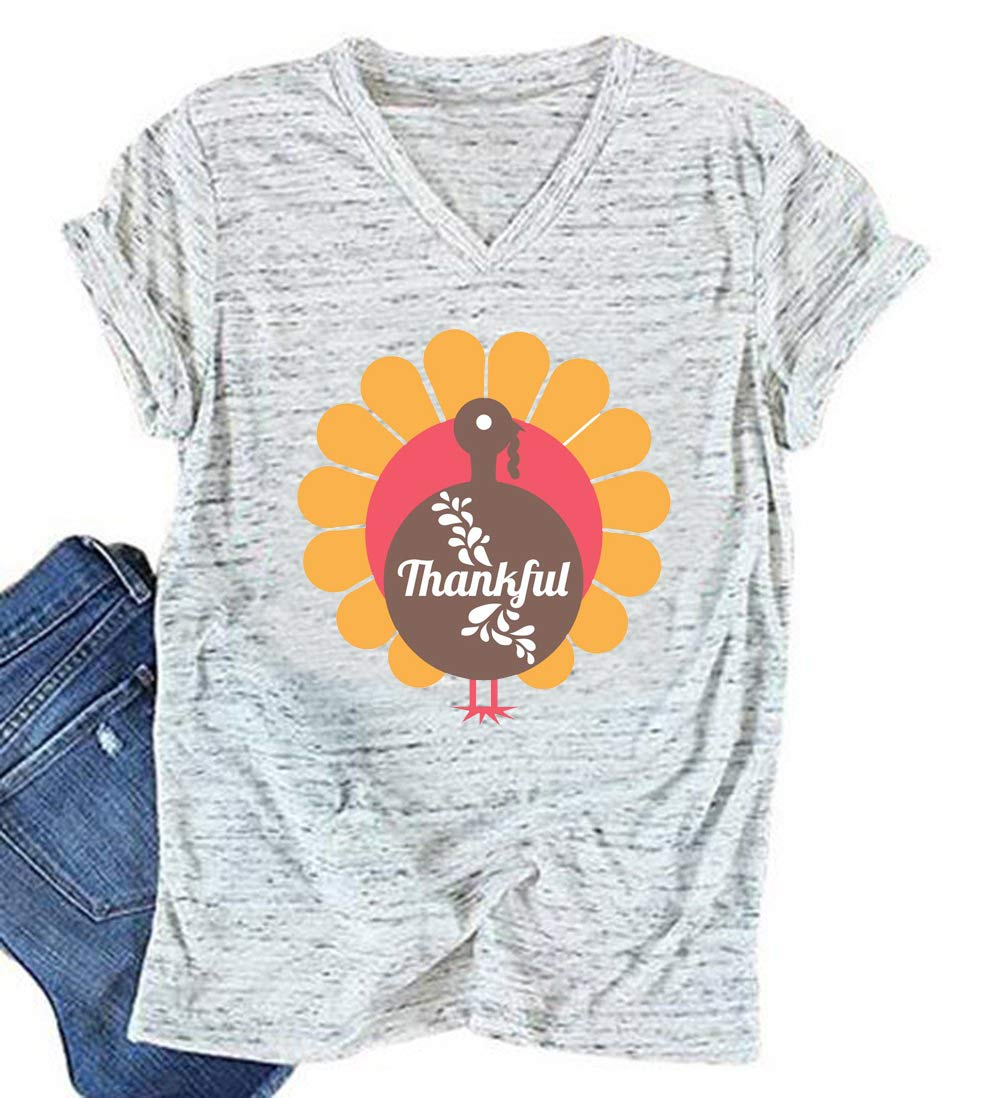 84420689 KimSoong Women Turkey Face Thanksgiving Shirt Funny Thankful Grateful  Blessed T-Shirt