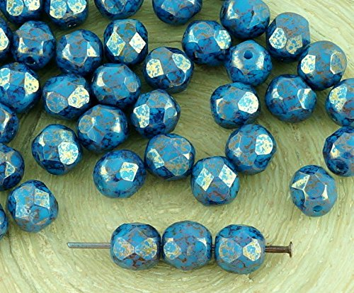 40pcs Opaque Turquoise Baby Blue Terracotta Bronze Round Faceted Fire Polished Spacer Czech Glass Beads 6mm