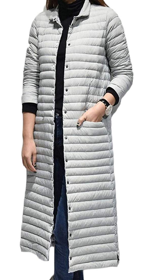 Light Grey omniscient Women Outwear Single Breasted Stand Collar Quilted Down Parka Coat