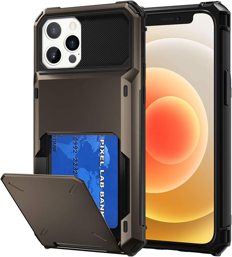 Maxdara Design for iPhone 12 Pro iPhone 12 Wallet Case with Hidden Credit Card Slot Dual Layer Hybrid Rugged Rubber Bumper Shockproof Case for iPhone 12/12 Pro 6.1 inches,Gun Metal