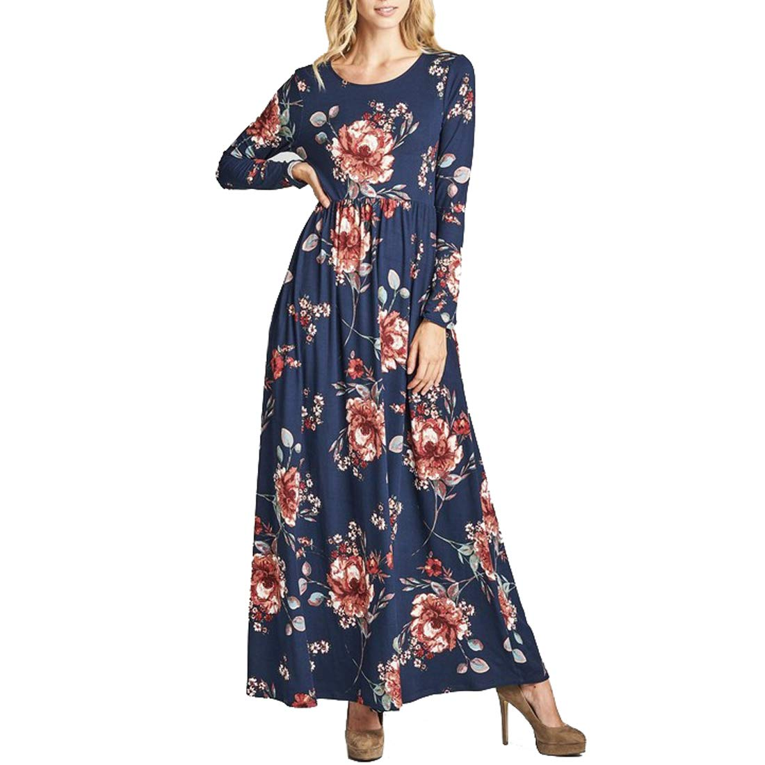 bluee JCR LIFESTYLE Women's Long Sleeve Loose Casual Floral Print Maxi Dress with Pockets