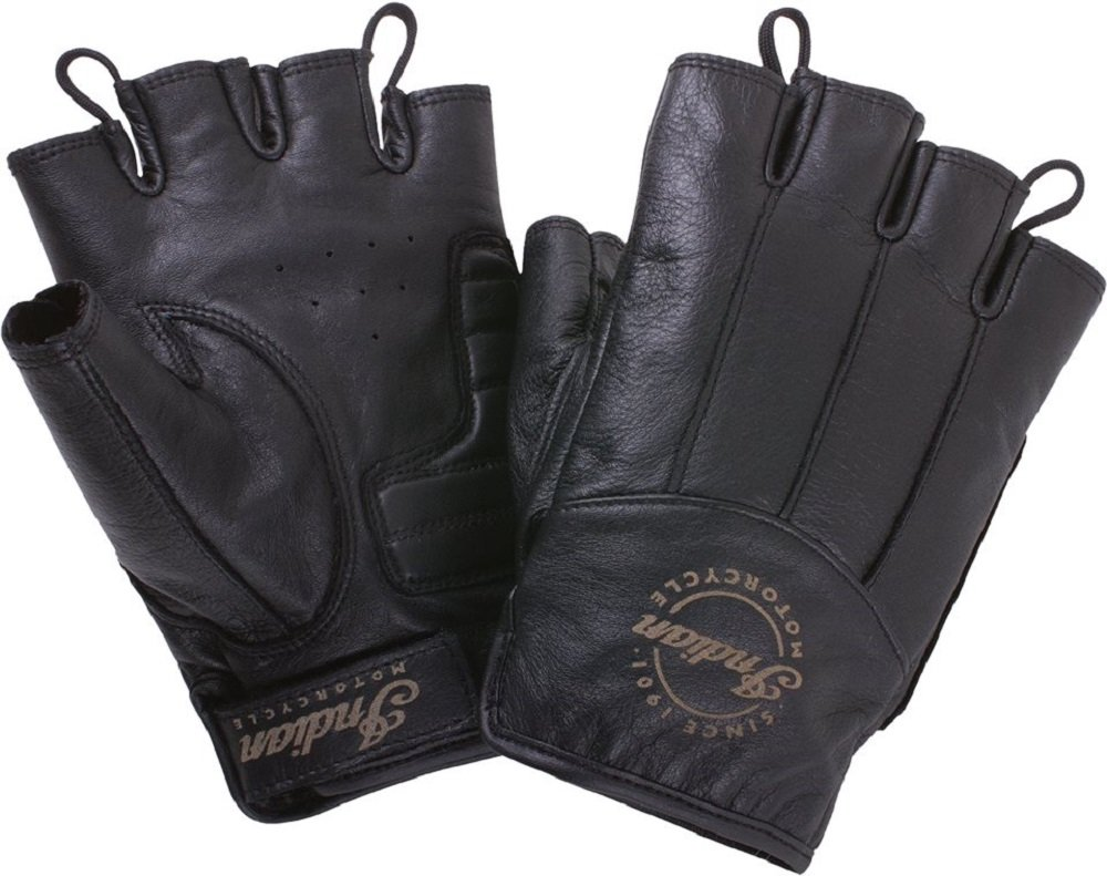 Indian Motorcycle Mens Fingerless Black Leather Gloves 3X-Large