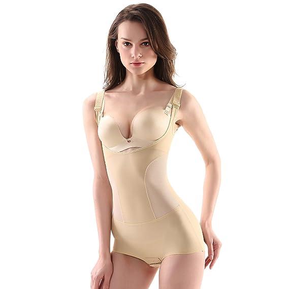 626594f7c54f8 MOVWIN Women s Shapewear Adjustable Seamless Firm Tummy Control Bodysuit Slimming  Full Body Open Bust Body Shaper