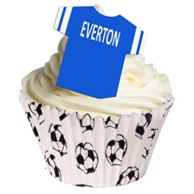 12 Edible Pre Cut Wafer Football Shirts Everton Amazoncouk Grocery