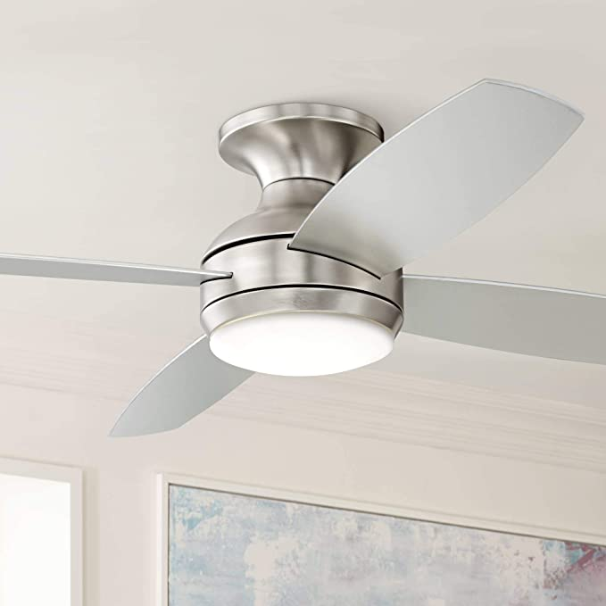 52 Casa Elite Modern Hugger Low Profile Ceiling Fan With Light Led Dimmable Remote Control Flush Mount Brushed Nickel For Living Room Bedroom Casa Vieja Amazon Com