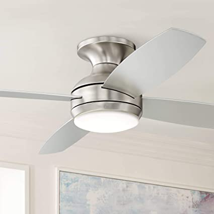 Enjoyable 52 Casa Elite Modern Hugger Low Profile Ceiling Fan With Light Led Dimmable Remote Control Flush Mount Brushed Nickel For Living Room Bedroom Casa Best Image Libraries Sapebelowcountryjoecom