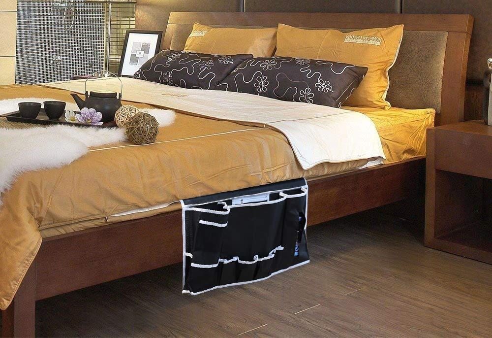 Inspired Home Living Bedside Caddy Organizer Large 12 Pocket Bed Hanging Storage Bag for Bedrooms Dorm Room Bunk Beds Holds School Supplies Laptops Books and More