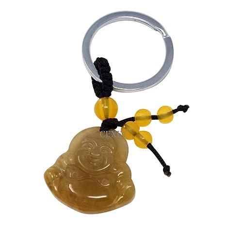 Feng Shui amarillo Buda de Jade llavero con diseño de ...