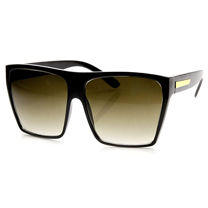 0a28f5e8e06c zeroUV - Large Oversized Retro Fashion Square Flat Top Sunglasses (Black-Gold):  Amazon.co.uk: Clothing