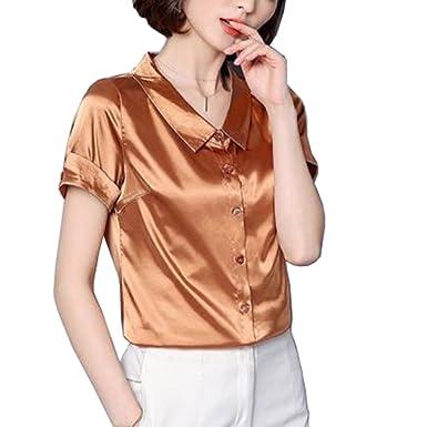 f160fa1b7 YOUMU Women Faux Silk Satin Shirt Short Sleeve Button Down Formal Work Shiny  Blouse Top: Amazon.co.uk: Clothing