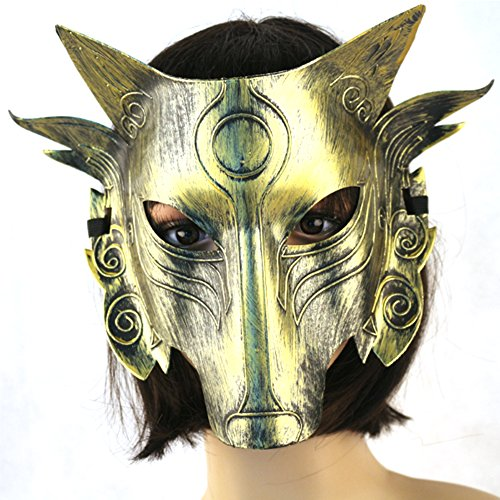 Partyfareast Cosplay Wolf Costume Mask Full Face Mask for Men Women (gold) (Female Wolf Costume)