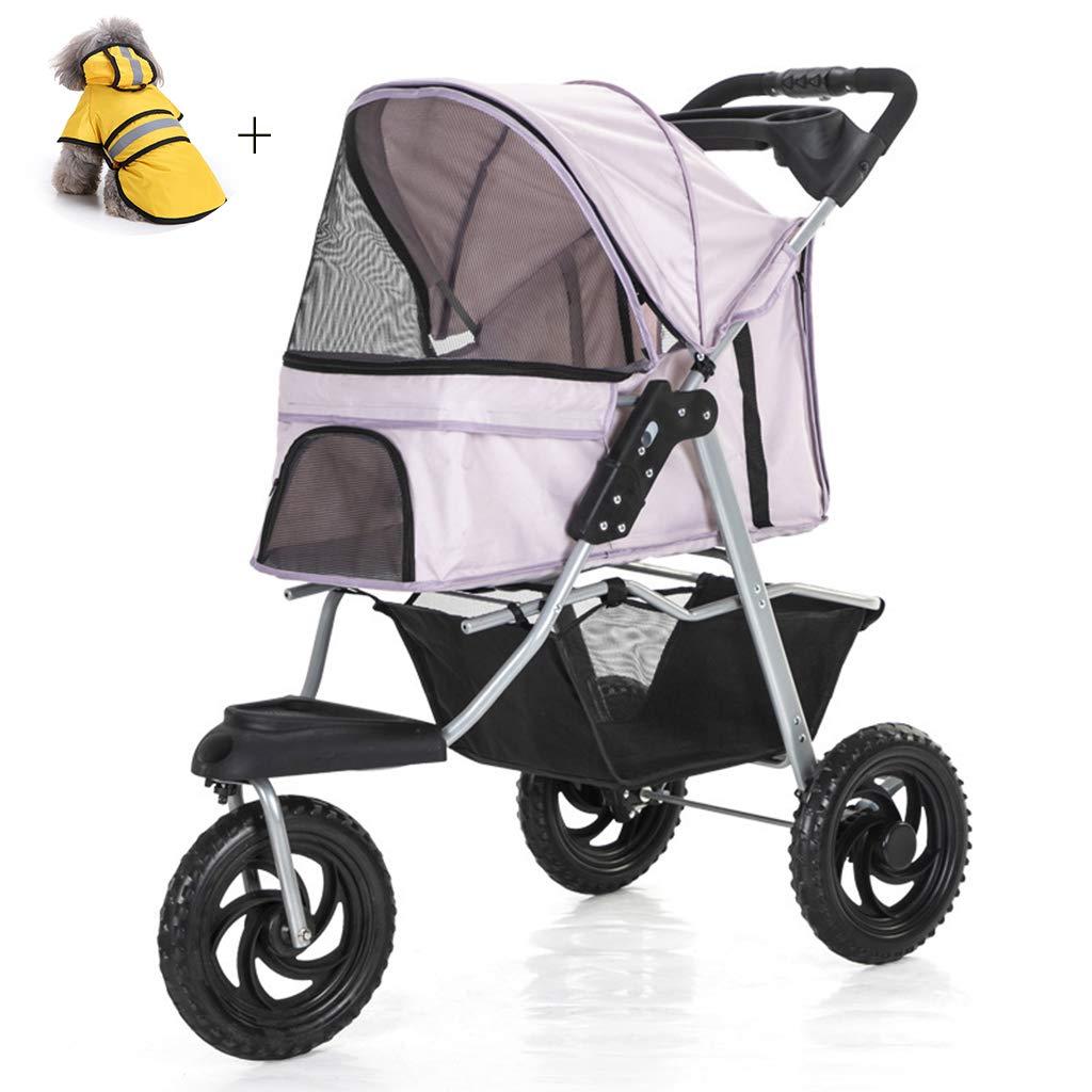 Pet Stroller, Folding Removable And Washable Split Pet Car Bag Send Dog Pet Raincoat,Pink
