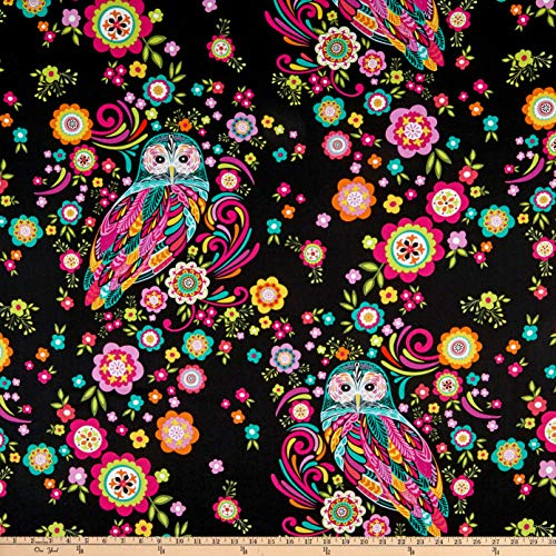 Flower Print Fabrics - Wilmington Prints Feathers and Foliage Owl and Flowers Black Fabric Fabric by the Yard