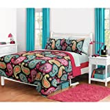 6pc Girl Fun Bright Pink Orange Aqua Teal Paisley Twin XL Dorm College Comforter Set (6pc Bed in a Bag)