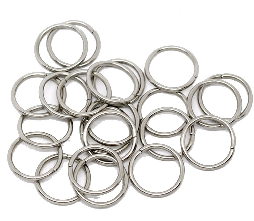 Rockin Beads 100 Nickle Plated Jump Rings 16mm Round 1.5mm Thick Jewelry Connectors Chain Links Made in China RBB10199