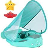 Newest Mambobaby Non Inflatable Swim Trainer Size Improved Add Tail Never Flip Over UPF 50+ Sun Canopy Solid Swimming Pool Fl