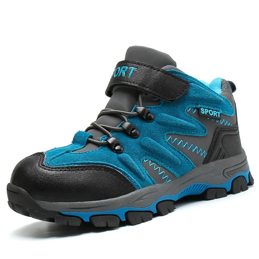 FOGOIN Winterschuhe Kinder Warm Gefüttert Trekking Wanderschuhe Winter Stiefel mit Klettverschluss für Jungen Mädchen Gr.31-40